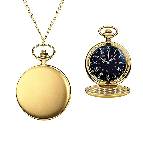 Pack of 2 Classic Metal Pocket Watch Roman Numerals with Chain for Men and...
