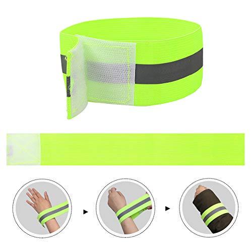 FUNVCE Reflektorband Reflektierendes Armband 6er Set Sicherheit Reflexband Outdoor Joggen Radfahren Fahrrad Laufen Reiten Kinder Klettverschluss Elastisch Leuchtband - Neon-Gelb - 3