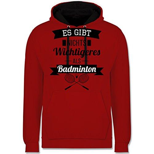 Sonstige Sportarten - Es gibt Nichts Wichtigeres als Badminton - L - Rot/Schwarz - Fun - JH003 - Hoodie zweifarbig und Kapuzenpullover für Herren und Damen