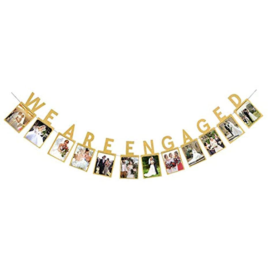 We are Engaged Photo Banner Gold Engagement Party Session Bunting Decorations for Weddings Supplies (Gold)