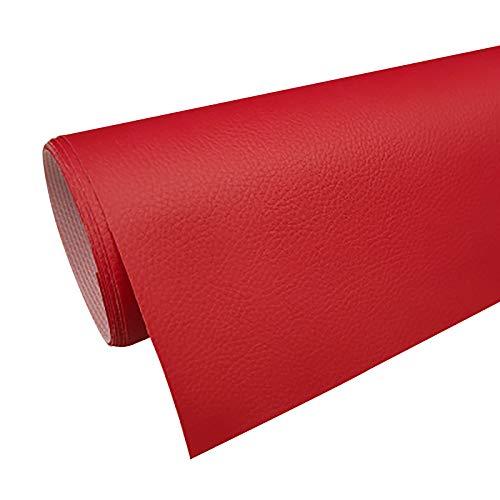 ZXC Tapicería de piel sintética para bolsos, manualidades, aretes, aretes, manualidades, manualidades, 160 cm de ancho, 1 m por yarda (color: rojo grande)