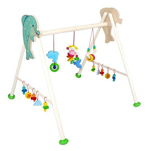Hess Holzspielzeug 13375 - Spielgerät aus Holz, Serie Nixe, für Babys, handgefertigter Spielbogen mit farbenfrohen Figuren und Rasseln, ca. 62 x 57 x 55 cm