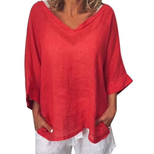 Zegeey Damen T-Shirt Solide Leinen 3/4 ÄRmel Rundkragen Casual Lose Pullover Top Bluse Tunika Oberteil (rot,42 DE/2XL CN)