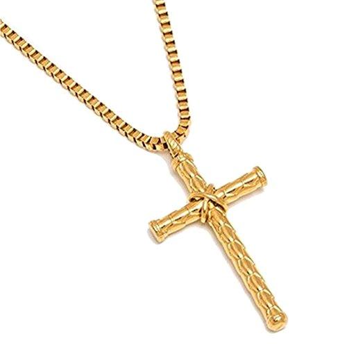 AIUIN - Collana da Uomo in Acciaio al Titanio a Forma di Croce Semplice con Testo inciso, Regalo di Coppia per San Valentino, Natale o Come Regalo di Compleanno (Stile 12)