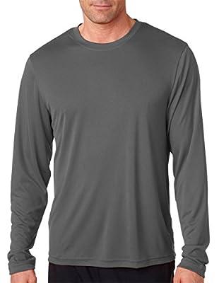 Hanes Cool DRI'Performance mens Long-Sleeve T-Shirt,Graphite,Large