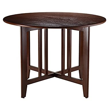 Winsome Wood Alamo, 94142, Double Drop Leaf, Round Table Mission, Walnut, 42-Inch