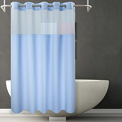River Dream Waffle Weave Fabric Shower Curtain No Hooks...