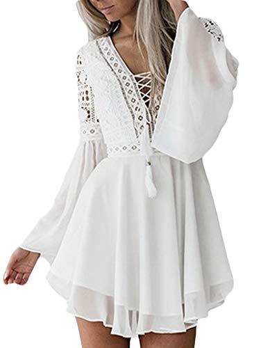 Wamvp Mujeres Atractivas Manga Larga Camisas En V Verano Dobladillo Irregular Camisas Dobladillo con Volantes Blusa Superior