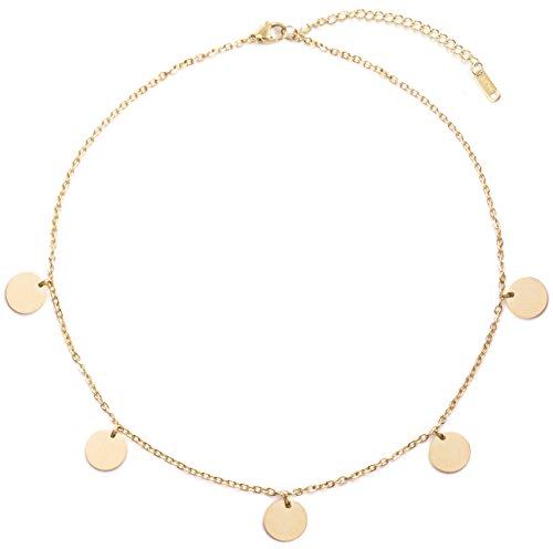 Happiness Boutique Damen Kette mit Plättchen in Goldfarbe | Zarte Halskette Runde Disk Anhänger Schmuck Damen