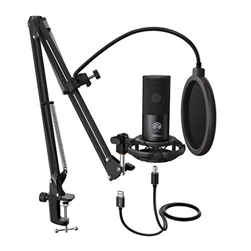 YWSZJ Condenser USB Computer Microphone Kit with Adjustable Scissor Arm Stand Shock Mount for Voice Overs