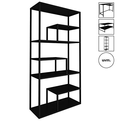 mokebo® Bücherregal 'Der Bücherwurm' aus Metall, auch als Raumteiler Regal oder Standregal, Designed in Denmark, B 85cm | H 188cm | T 35cm