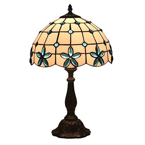 FYMDHB886 bureaulamp, hoogte bloemen, tiffany-stijl, tafellamp, nachtkastje, lichtschakelaar, netschakelaar, leeslamp, Size, blue lilac