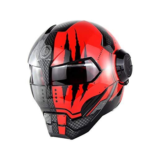 VGFHURIO 515 personalisierte Ironman Motorradhelm Flip Up Ironman Schädel Roboter Moto Casco DOT Genehmigung Shiny Black Red XL