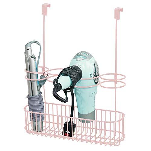 mDesign Soporte para secador de Pelo sin Taladro – Ideal Colgador para Puerta para Guardar el secador del Pelo –...