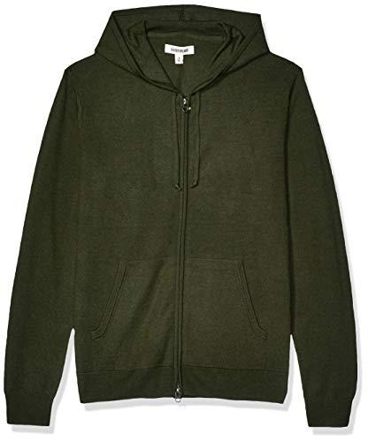 Amazon Brand - Goodthreads Men's Lightweight Merino Wool/Acrylic Fullzip Hoodie Sweater, Olive Medium