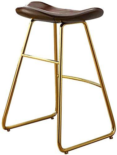 Barkruk, retro, barkruk, stoelen, eetkamer, met rug en voetensteun, geschikt voor keuken en eetkamer, PU-leer en goudkleuren, poten van metaal, bruin, maat: hoog