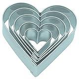 Unbekannt Ausstecher/Ausstechform 5 er Set Herzen 2-5,4 cm aus Edelstahl