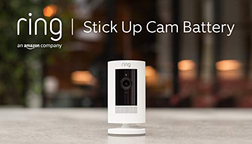 Ring Stick Up Cam Battery, cámara de seguridad HD con comunicación bidireccional, compatible con Alexa | Incluye una prueba de 30 días gratis del plan Ring Protect | Color blanco