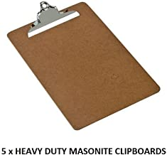 Pack Of 5 x Heavy Duty Clip Smooth Masonite A4 Clipboards