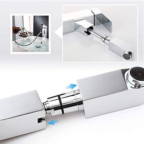 Homfa ausziehbare Waschtischarmatur. Küchenarmatur mit Einhandmischer, ausziehbarer Schlauchbrause und Keramik-Kartusche aus verchromtem Messing - 5