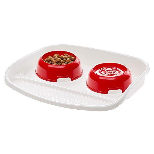Ferplast Tablett mit Futterschalen für Hunde und Katzen Lindo Doppelfutternapf für Tiere, stabiler Kunststoffboden, rutschfeste Füße, inklusive zwei Futterschalen Inhalt 0,6 l, 44,5 x 34 x 7 cm, rot