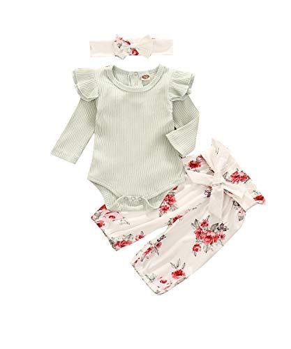 Geagodelia Pelele con volantes florales para bebé de algodón 3 piezas + pantalones + diadema completo para niña 0-3 meses otoño e invierno Verde B. 0-6 Meses