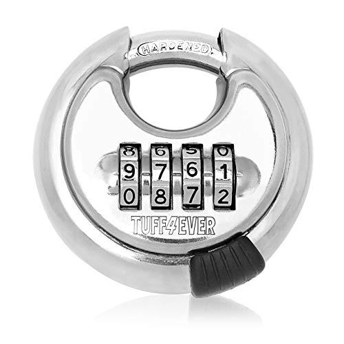 Tuff4ever Candado de combinación de 4 dígitos con grillete de acero endurecido para exteriores, resistente, redondo, 70 mm