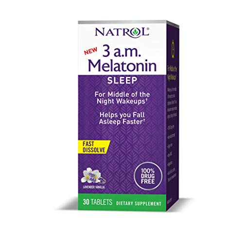Natrol 3 a.m. Melatonin Sleep Aid, Lavender Vanilla Flavor, 30 Fast Dissolve Tablets