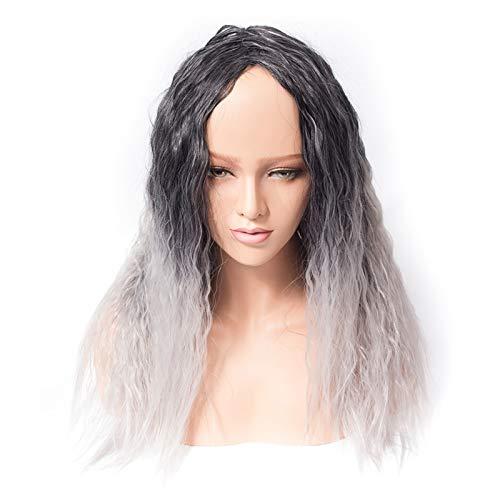 liangzishop Pelucas Sintticas Pelo Afro Kinky Recto Alta Temperatura Fibra Afroamericana Longitud Mediana Pelucas Blacke Sliver Gray Cospaly Wig Peluca para Mujer