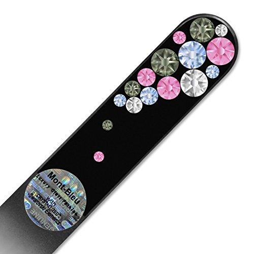 Mont Bleu Lime à ongle en verre ornées à la main de cristaux de Swarovski Elements, pochette en velours noir | Véritable verre trempé tchèque, garantie à vie, Lime à ongles fait main en cristal