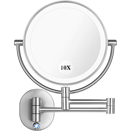 Pansonite LED Wall Mount Makeup Mirror with 10x Magnification, 8.5'' Double Sided 360° Swivel Vanity Mirror with 13.7' Extension and Adjustable Light for Bathroom & Bedroom, Brushed Finished