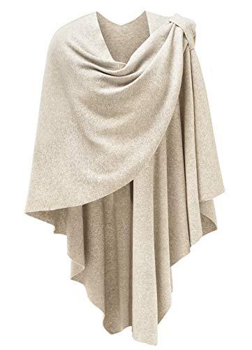 Chal poncho para mujer, con punto finamente drapeado, cárdigan de capa cruzada,...