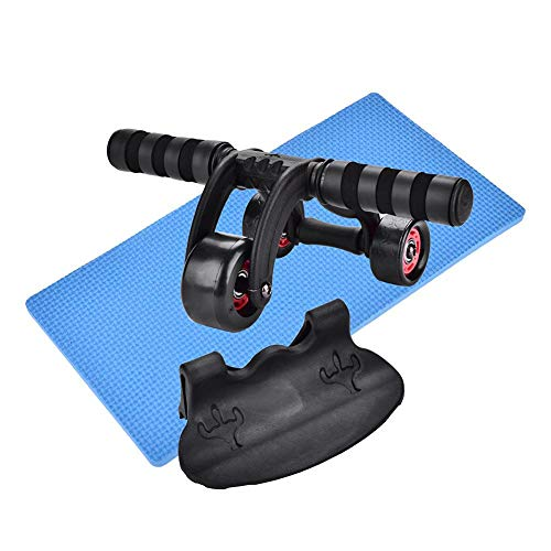 lahomie Bauchrad,Bauchmuskel Roller Faltbare Fitness Bauchrad 3 Rad Fitness Ab Roller Workout System Bauchmuskeltrainer Knieschutz Pad Gym für Bauchbauch (31 x 17 x 15,5 cm)