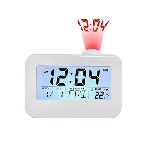 MJ-Alarm Clock Horloge de Projection de personnalité Lumineuse électronique silencieuse de Chevet, étudiant Paresseux de Mode électronique réveil réveil