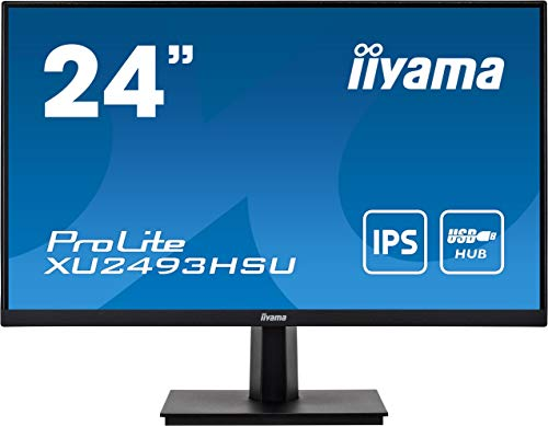 IIYA5 iiyama Prolite XU2493HSU-B1 60,5cm IPS LED-Monitor Full-HD (VGA, HDMI, DisplayPort, USB2.0, Ultra-Slim-Line) schwarz , 24 Zoll