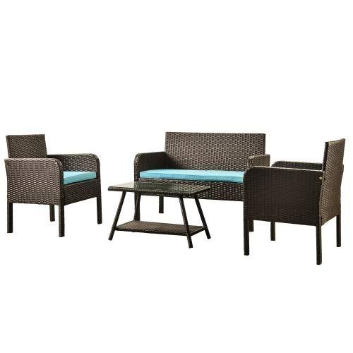Yi-xir diseño Clasico Entrega degradada Dentro de días de combinación de sofá de ratán Fuera de la combinación de sofá de ratán con cojín Comodo (Color : Blue)