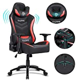 EasySMX Gaming Chair Racing Office Computer Game Chair, Ergonomic Backrest and Seat Height Adjustment Recliner Swivel Rocker with Headrest and Waist Tilting Electronic Sports Chair (Red-Black)