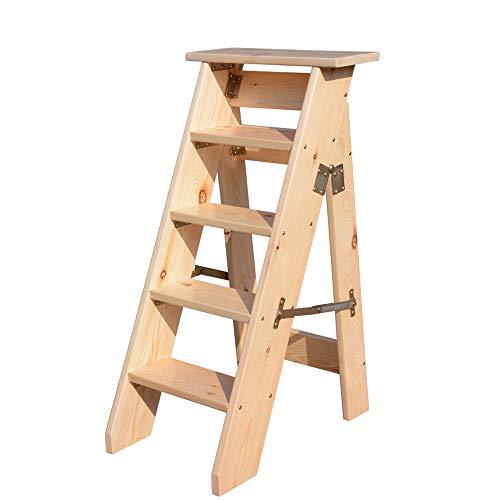 IAIZI houten ladderkruk multifunctionele opvouwbare 5 stappen dikke houten plank huis bibliotheek (natuur kleur) (150kg capaciteit)