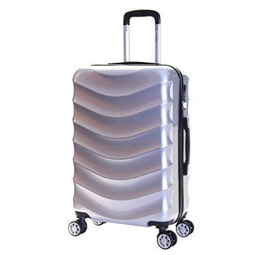 Karabar Hard Shell Medium Large Suitcase Luggage Bag 66 cm 3.4 kg 65 litres Polycarbonate PC with 4 Spinner Wheels and Integrated TSA Number Lock, Ripple Silver
