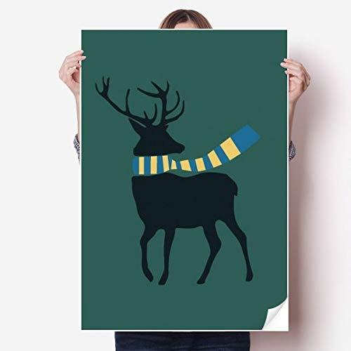DIYthinker Kerstmis Elk Sjaal Festival Patroon Vinyl Muursticker Poster Muurschildering Kamer Decal 80X55Cm