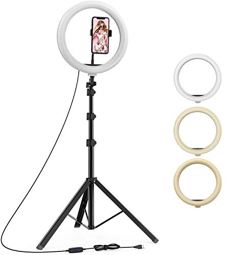 NEELTEX 18 Inch Selfie Ring Light, 3 Lights Color USB Adjustable LED Ring Light with Tripod Stand & Cell Phone Holder for YouTube Video and Live Makeup Photography