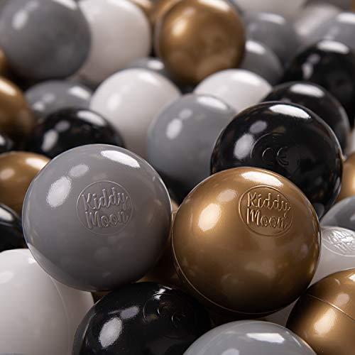 KiddyMoon 300 ∅ 7Cm Bolas Colores De Plástico Para Piscina Certificadas Para Niños, Blanco Gris Negro Oro