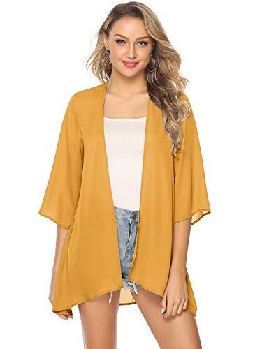 Abollria Kimono Kimono voor dames, elegante lichte zomerjas, 3/4 mouw, casual strandcover, up, voor vakantie