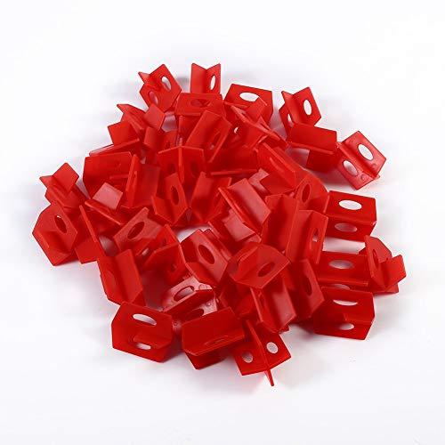 Azulejos de nivelación sistema, Azulejos espacio nivelador, Sistema de nivelación de baldosas rojas 50Pcs 3 Espaciador de baldosas laterales para forma de cruz y forma T de baldosas cerámicas de 2 mm