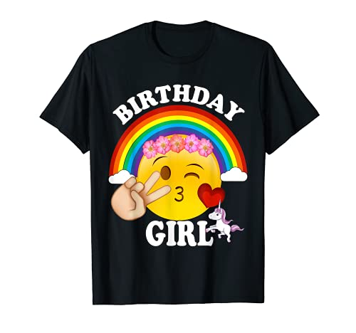 Birthday For Girls Unicorn Rainbow Heart Kiss T-Shirt