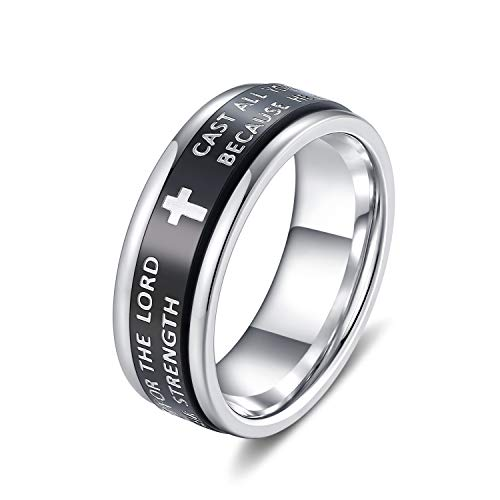 EZSONA Men's Women's 7MM Stainless Steel Religious Cross Bible Verse Spinner Ring 1 Peter 5:7, Isaiah 40:31 Jewelry Size 9