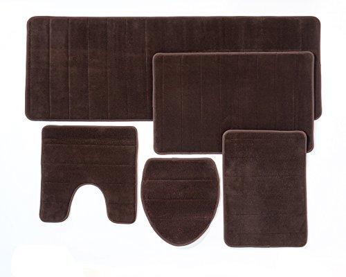 Weicher Teppich Braun Wc Garnitur Set 5 Teilig - Badematten Set 3 Teilig, Wc Vorleger Mit Ausschnitt, Toilettendeckel Deckel -  Bad Teppiche Set, Braun