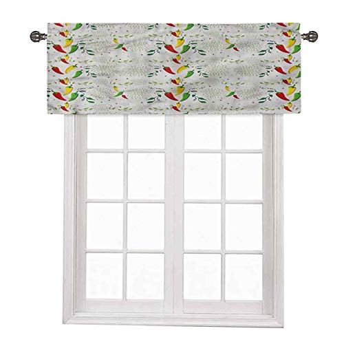 Vegetables Window Short Curtains Valances Mexican Food Hot Sauce36 x 18  Inch