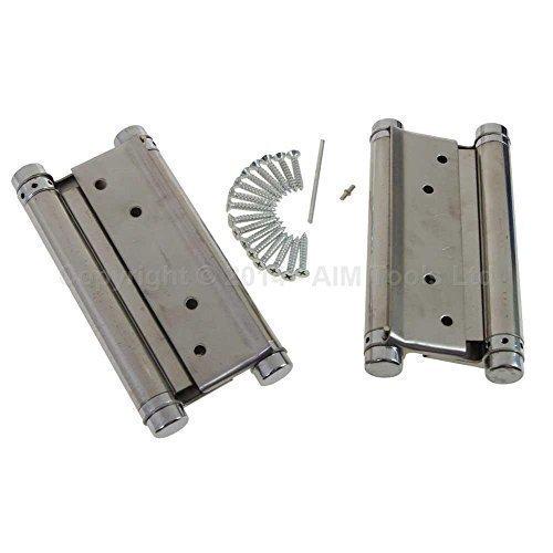 54611030 1 Paar Scharniere Edelstahl 15cm Doppelfunktion Schwingtüren 150mm