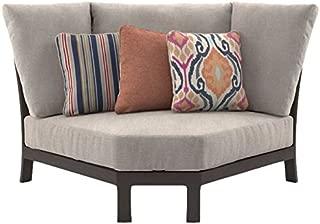 Ashley Furniture Signature Design - Cordova Reef Outdoor Curved Corner Chair with Cushion - Ladderback Design - Dark Brown